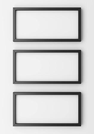 blank photo: three blank black photo frames on white wall. 3d illustration