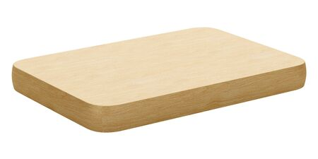 wooden cut: wooden cutting board isolated on white background. 3d illustration