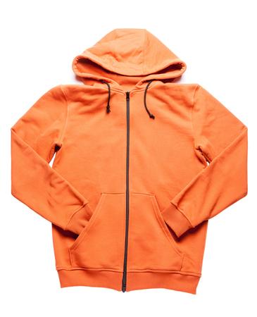 oranje hoodie geïsoleerd op witte achtergrondgeluid Stockfoto