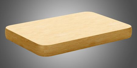 wooden cut: wooden cutting board isolated on gray background. 3d illustration Stock Photo