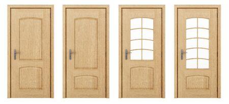 white door: wooden door isolated on white background. 3d illustration