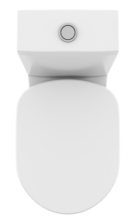 top view of modern standing toilet bowl isolated on white background. 3d illustration Zdjęcie Seryjne