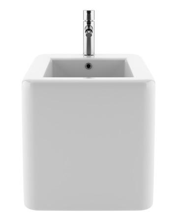 ceramic bidet isolated on white background. 3d illustration Stock Photo