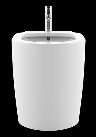 ceramic bidet isolated on black background. 3d illustration