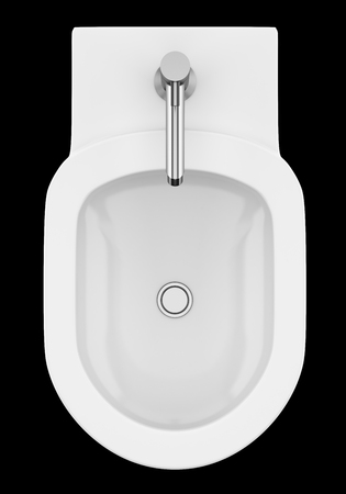 top view of ceramic bidet isolated on black background. 3d illustration Stock Illustration - 102643170