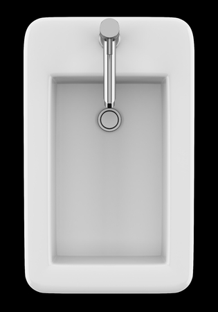 top view of ceramic bidet isolated on black background. 3d illustration