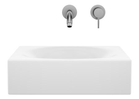 ceramic bathroom sink isolated on white background. 3d illustration