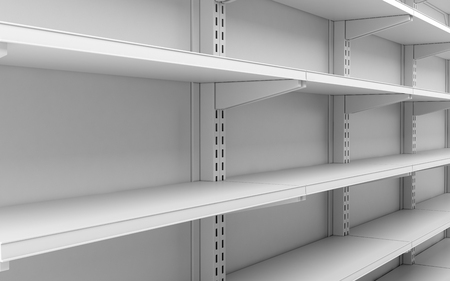 closeup empty white supermarket shelves. 3d illustration 스톡 콘텐츠