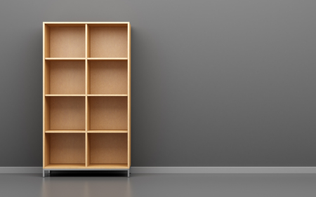 wooden office cabinet shelf in front of gray wall. 3d illustration