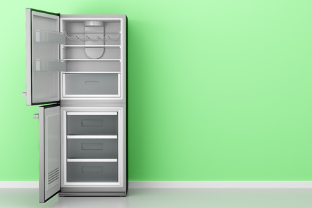 open empty fridge in front of green wall. 3d illustration