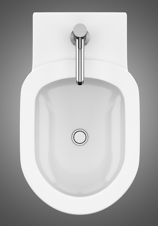 top view of ceramic bidet isolated on gray background. 3d illustration