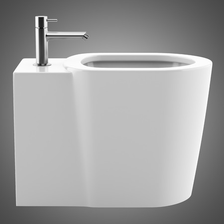 ceramic bidet isolated on gray background. 3d illustration Stock Illustration - 104163431