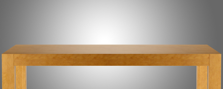 wooden table top template isolated on gray background 3d