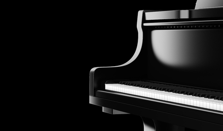 closeup black grand piano isolated on black background. 3d illustration