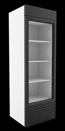 empty market fridge for beverages isolated on black background. 3d illustration