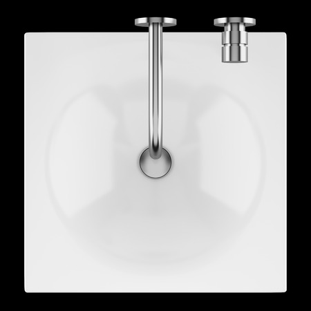 top view of ceramic bathroom sink isolated on black background. 3d illustration