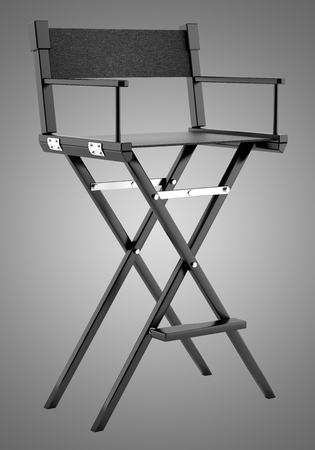 black director`s chair isolated on gray background. 3d illustration Stok Fotoğraf