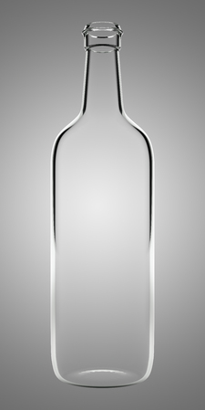 empty glass bottle isolated on gray background. 3d illustration Banque d'images - 117160006