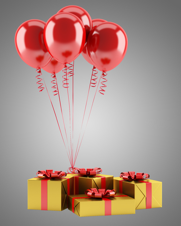 yellow gift boxes with red ribbons and balloons isolated on gray background. 3d illustration Banque d'images - 117160015