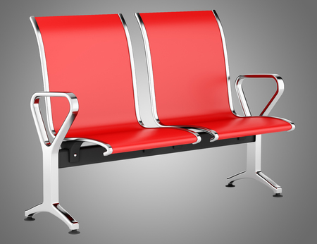 red waiting chairs isolated on gray background. 3d illustration Banque d'images - 117160017