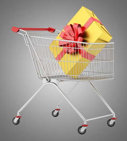 shopping cart with gift box isolated on gray background. 3d illustration