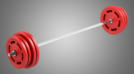 red barbell isolated on gray background. 3d illustration