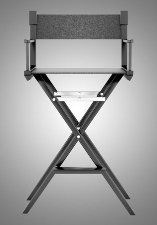 black director`s chair isolated on gray background. 3d illustration Banque d'images - 117160029