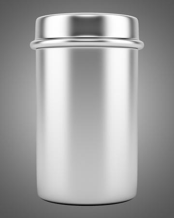 blank metallic tin isolated on gray background. 3d illustration Banco de Imagens