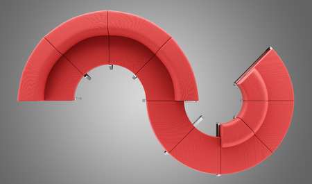 red waiting couch isolated on gray background. top view. 3d illustration