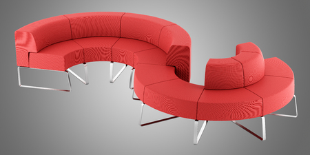 red waiting couch isolated on gray background. 3d illustration Stok Fotoğraf