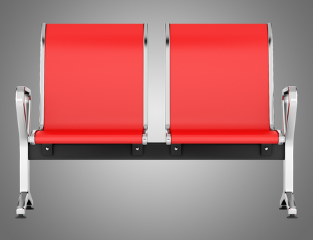 red waiting chairs isolated on gray background. 3d illustration Banque d'images - 117160045