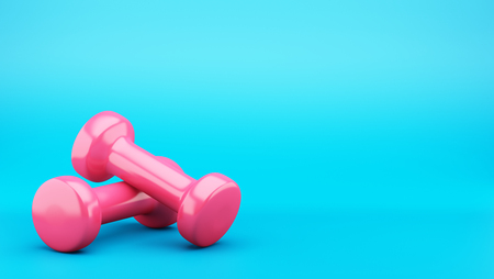 Pink dumbbells isolated on blue