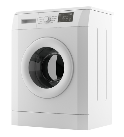 Modern washing machine isolated on white Banque d'images - 118829198