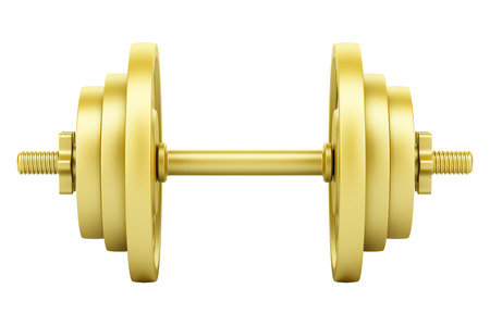 Golden dumbbell isolated on white Banque d'images - 118829197