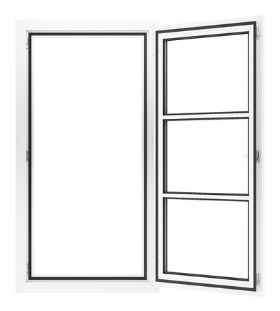 open window isolated on white background. 3d illustration Banque d'images - 119041310