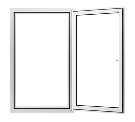open metallic window isolated on white background. 3d illustration Stok Fotoğraf