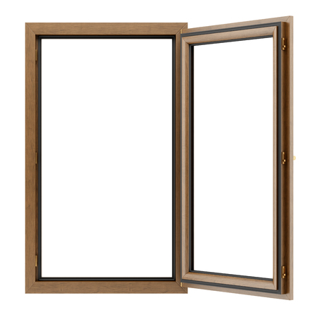 open wooden window isolated on white background. 3d illustration