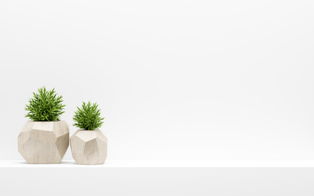 green plants in wooden pots on white shelf. 3d illustration Banque d'images - 119041325