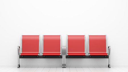 red waiting chairs in front of white wall. 3d illustration Banque d'images - 119041335