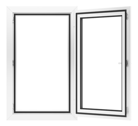 open window isolated on white background. 3d illustration Banque d'images - 119041336
