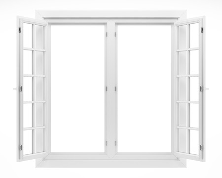 open window isolated on white background. 3d illustration Banque d'images - 119041337