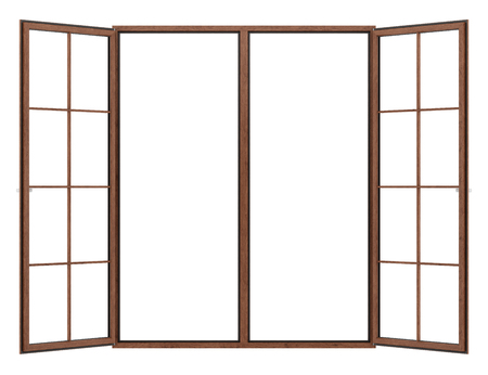 open wooden window isolated on white background. 3d illustration Banque d'images - 119778282