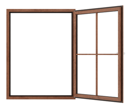 open wooden window isolated on white background. 3d illustration Banque d'images - 119778285