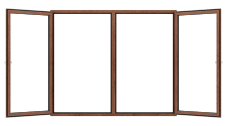open wooden window isolated on white background. 3d illustration Banque d'images - 119778288