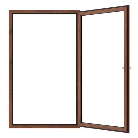 open wooden window isolated on white background. 3d illustration Banque d'images - 119778289
