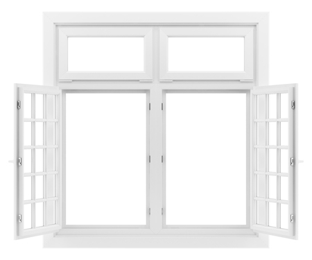open window isolated on white background. 3d illustration Banque d'images - 119778291