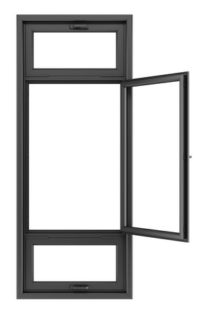 open black window isolated on white background. 3d illustration