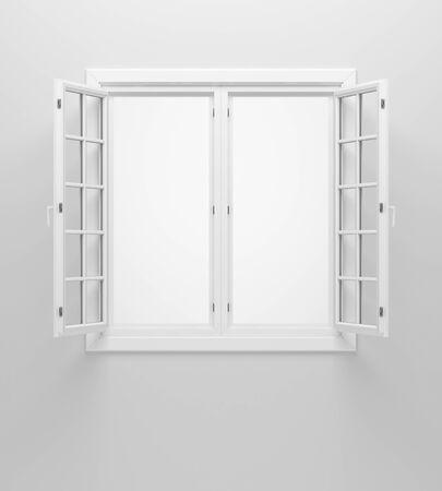 open window on white wall. 3d illustration