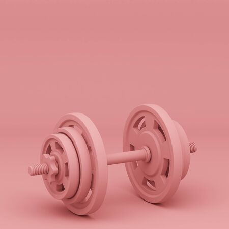 dumbbell isolated on pink background. 3d illustration Фото со стока