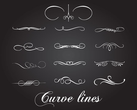 Typographic elements and curve lines